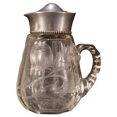 Antique STERLING Silver Intaglio Cut Gravic Glass Hawkes ABP Tankard Syrup Pitcher