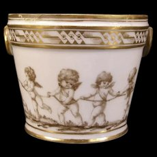1800's NAST French Paris Napoleonic Porcelain Fruit Cooler Desert Dish Cherub Bowl