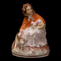19 c English Staffordshire Pottery Red Riding Hood Figurine Porcelain Dog Statue