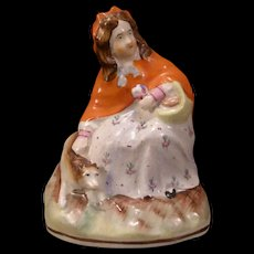 19 c Antique Staffordshire Pottery Red Riding Hood Figurine Porcelain Dog Statue