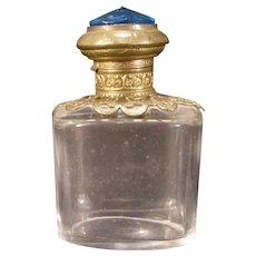 Antique Gilt Ormolu Cut Blue Jewel French Glass Palais Tour Perfume Scent Bottle