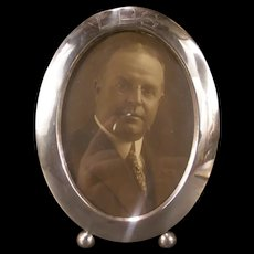 Vintage Art Deco Oval Sterling Silver Picture Portrait Photo Frame Ball Foot