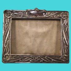 Antique Hallmark Sterling Silver ART NOUVEAU Photo Picture Portrait Flower Relief Frame
