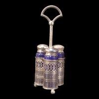 Vintage Sterling Silver Condiment Mustard S&P Cruet Castor 3 Bottle Set Shakers