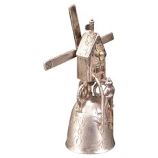 """1740 Dutch Sterling Silver Miniature Windmill Bell Novelty """"WAGER CUP"""" Stein Jug"""