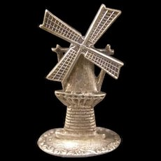 1930's Dutch Sterling Silver Miniature Windmill Novelty Figure Place Card Holder