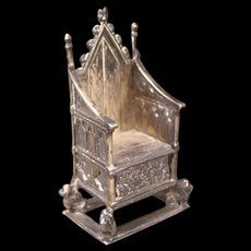 1901 Coronation Edward Gothic Sterling Silver Throne Chair Miniature Novelty Sew
