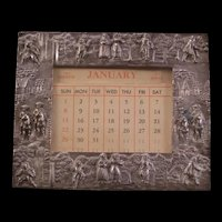 1890's Continental Art Silver Calendar Photo Picture Scenic Relief Frame Webster