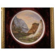 LG 1800s Landscape Oil Painting Portrait Plaque Plate Gold Gilt Frame Opal Glass