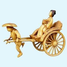40s Japanese Celluloid Figure Geisha Rickshaw Cart Statue Kokeshi Doll Sculpture