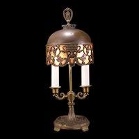 20's Oscar Bach Bronze Mica Shade Tribal Dome Lamp Light Fixture Bacchus Boudoir