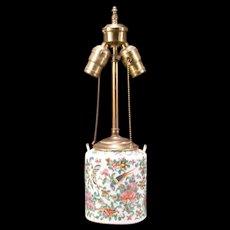 19c Chinese Porcelain Famille Rose Phoenix Mandarin Butterfly Enamel Teapot Lamp