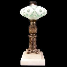 Antique Marble Bohemian White Cut to Green Case Glass Oil Parlor Lamp Czech