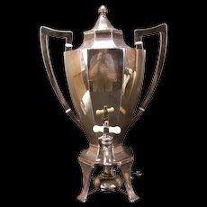Antique Silver Hot Water Coffee Tea Pot Kettle Urn Samovar Carved Handle Burner