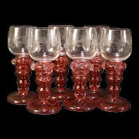 Set of 6 1800's Moser Cranberry Intaglio Cut Etch Engraved Glass Goblet Wine Stem Red