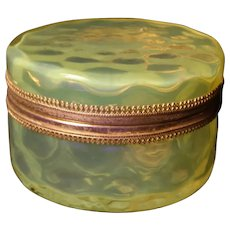 Vintage Vaseline Glass Coin Spot Jewelry Casket Trinket Powder Jar Hinged Box