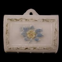 RARE~ 1800's EAPG Opal Opaline Consolidated Glass Match Safe Holder Wall Hanging