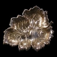 Antique Aesthetic Silver Strawberry Leaf Relief Dish Plate Serving Tray Platter