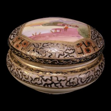 Antique Nippon Satsuma Porcelain Powder Jar Dresser Vanity Jewelry Trinket Box