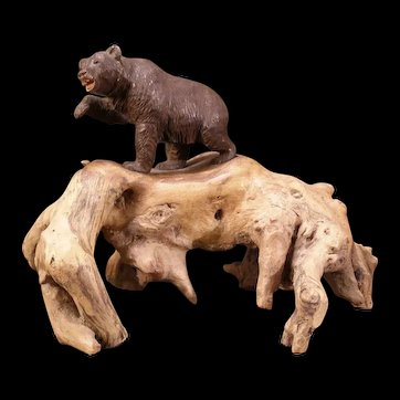 Vintage Brienz Black Forest Hand Carved Bear Swiss Statue Sculpture Wood