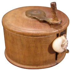 1800s Treen Ware SEWING Figural TAPE MEASURE Wooden Rod Novelty Fly Fishing Reel