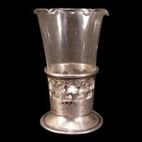 1920's Art Deco Reticulated Sterling Silver Spill Bud Flower Vase Epergne Hand Blown Glass