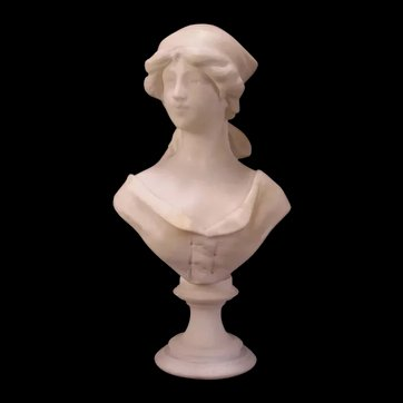 Antique Carved Marble Lady Pedestal Bust Figure Statue Sculpture Woman~Cipriano