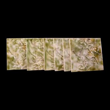 6 1800's Encaustic Fireplace Ceramic Majolica Flower Relief Tile Glaze Embossed