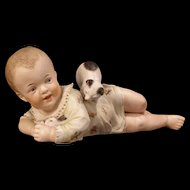 LARGE 19c Heubach Porcelain Bisque Piano Baby Figurine Playing Bunny Rabbit & Kitty Cat Figure Statue