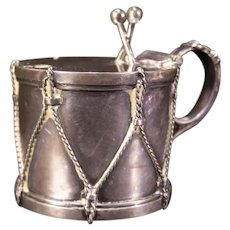 Antique Military Drum French Clambroth Glass Mustard Castor Condiment Silver Plate