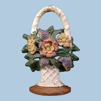 1930's FULL FIGURE Cast Iron PEONY Flower Basket Door Stop Hibiscus Rose Daisy