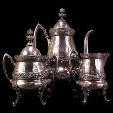 1876 Antique Silver Tea Pot Repousse Chased Floral Coffee Urn Service Set 3 Pc