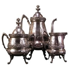 1876 Antique Silver Tea Pot Repousse Chased Floral Coffee Urn Service Set 3 Pc