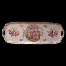 Antique German Porcelain Woman Floral Portrait Serving Tray Figure Platter Dish