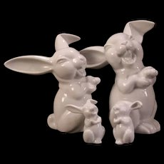 4 Vintage Rosenthal German Porcelain Rabbit Bunny Figural Group Statue Sculpture