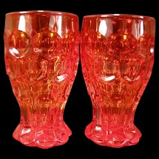 2 Vintage Heisey Provincial Whirlpool TANGERINE Glass Tumblers Cocktail Goblet