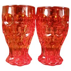2 Vintage Heisey Provincial Whirlpool TANGERINE Glass Tumblers Cocktail Goblet