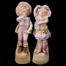 1800's Children German Porcelain Bisque Figurine Statue Piano Baby Girl Boy PAIR