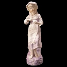 EARLY 1800s Lady German Porcelain Bisque Figurine Statue Piano Girl Sculpture