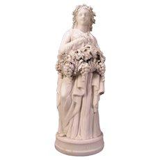 1800s Minton Parian Porcelain Bisque Biscuit Woman Figure Statue Lady GRAPE Girl