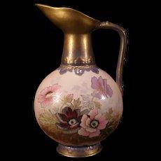 1800's Austria Pottery Robert Hanke Pitcher Lliy Flower Vase Hand PAINTED Porcelain