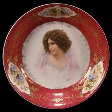 Antique Austria Porcelain Woman Girl Portrait Plaque Bowl Bride Basket Center