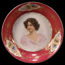 Antique Austria Porcelain Woman Lady Portrait Plaque Bowl Bride Basket Center
