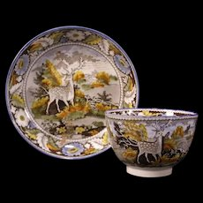 1820's Staffordshire Pearlware Salopian Creamware Cup Plate Historical Transfer