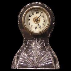 1902 Antique American Brilliant Period Cut Glass ABP Clock Shelf Mantle SIGNED FRY