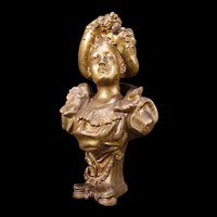 Antique Victorian Lady Woman Bust Figure Statue Sculpture Flower Spelter