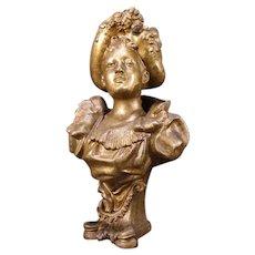 Antique Victorian Lady Woman Bust Figure Statue Sculpture Flower Spelter