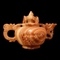 Vintage Natural Red Agate Onyx Hand-Carved ~DRAGON~ Kettle Wine Tea Pot