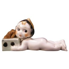 1930's Doll Pin Cushion Figure Novelty Statue Baby Sewing Notion Radio