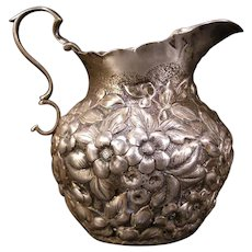 Antique Sterling Silver Repousse Pitcher HOWARD & Co Embossed Relief Floral Lily